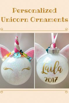 Personalized unicorn ornaments. These are freaking adorable!!! #unicornornaments #christmasornaments #ornaments #christmas #christmasgift