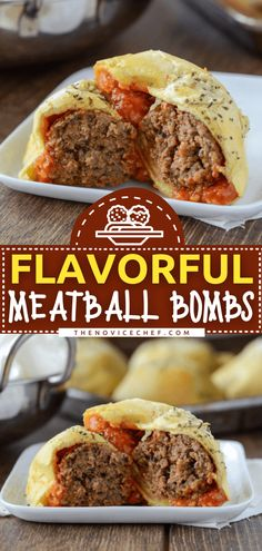 This party food is a great way to repurpose leftover meatballs! Stuffed together with marinara and cheese, these bombs are so much better than the classic version with pepperoni. Not only do they make a quick and easy appetizer, but you can also enjoy them as a lunch idea! Fun Easy Recipes, Easy Appetizer Recipes, Quick Dinner Recipes, Yummy Appetizers, Lunch Recipes, Beef Casserole Recipes, Beef Recipes, Meatball Recipes, Ground Turkey Meatballs