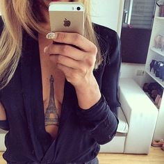 Unique Eiffel Tower tattoo in middle of breasts 3 Tattoo, Chest Tattoo, Piercing Tattoo, Get A Tattoo, Piercings, Back Tattoos, Body Art Tattoos, Cool Tattoos, Tatoos