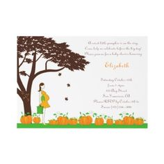 Field of Pumpkins Neutral Baby Shower Invitations by mymimipie