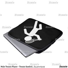 Male Tennis Player - Tennis Symbol Laptop Sleeve -Lightweight and water resistant neoprene -  Choose from 10inch, 13 inch or 15 inch Laptop Sleeves at Zazzle. By Gravityx9 Designs and Sports4you