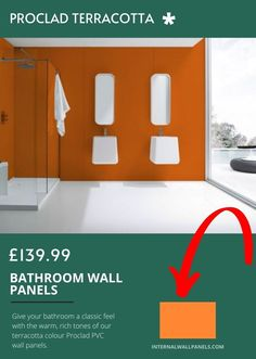 Give your bathroom a classic feel with the warm, rich tones of our terracotta colour Proclad PVC wall panels.These are perfect for shower and bathroom walls, and give your bathroom a truly unique appearance with bold Terracotta premium uPVC sheeting.