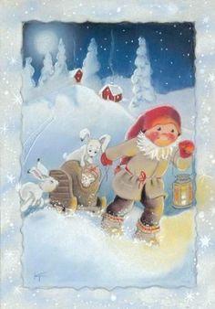 Secret Party Kaarina Toivanen Christmas Card Finland: Home & Kitchen. Swedish Christmas, Christmas Gnome, Christmas Music, Scandinavian Christmas, Christmas And New Year, Winter Christmas, Vintage Christmas, Christmas Crafts, Merry Christmas