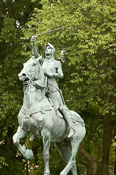 Quebec City, Canada, Joan of Arc statue (David Sanger Photography. Joan Of Arc Quotes, Joan Of Arc Statue, Arc France, Equestrian Statue, St Joan, Our Father In Heaven, America And Canada, Horse Sculpture, Quebec City