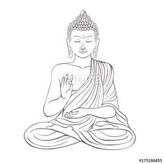 Vektor: Gautama buddha with raised right hand on vector illustration Gautama Buddha, Buddha Buddhism, Buddha Drawing, Buddha Painting, Pencil Sketch Drawing, Pencil Art Drawings, Yoga Illustration, Graphic Design Illustration, Buddha Wallpaper Iphone