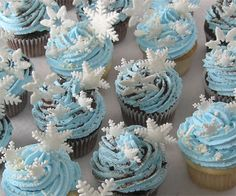 Happy Birtday Decorted Snowflake Cupcakes Chocolate Vanilla