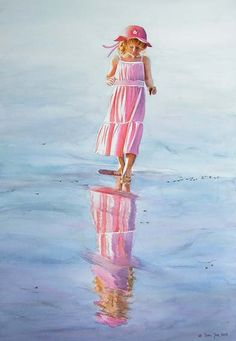 Reflections - young girl with pink dress and pink hat walking at the beach - realistic figurative watercolor painting by Doris Joa