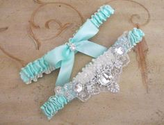Tiffany Blue Bridal Wedding Garter Set with  Beaded and Embroidered Crystals Applique.