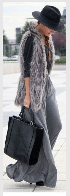 Chic vest and wide leg pants