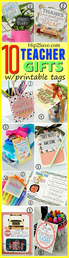10 Teacher Gift Ideas w/ Free Printable Gift Tags. Bring a big smile to a teacher's face with these wonderful gifts, show how much you appreciate what they do! From Hip2Save.com