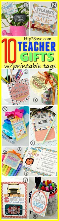 10 Teacher Gift Ideas w/ Free Printable Gift Tags
