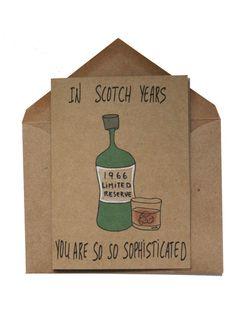 Funny 50th Birthday Card - 50th Birthday card dad - Scotch Whiskey 50th birthday card - 1966 Birthday card funny - 50th birthday gift him by MashUpArt on Etsy https://www.etsy.com/listing/269703096/funny-50th-birthday-card-50th-birthday