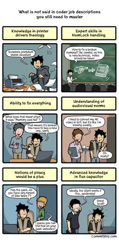 What is not said in coder job descriptions you still need to master | CommitStrip - Blog relating the daily life of web agencies developers