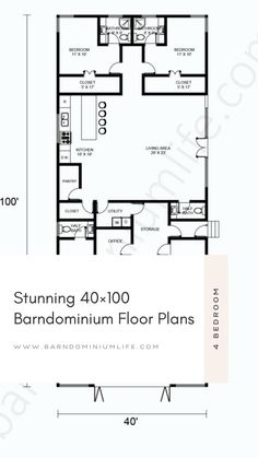 Barndominium's floor plan is one of the most important things one will come up with in the design process. Without having the right floor plan, none will be able to get everything they want from their barndo and this can defeat the whole purpose of the project. In this attached article, we have put together some amazing examples of a 40×100 barndominium floor plan to help get you inspired. You might even find the perfect floor plan here and from there on out, your work is done! Floor Plan 4 Bedroom, Barndominium Floor Plans, Open Concept, Design Process, Flooring, How To Plan, Purpose, Inspired, Amazing