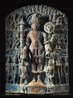 Stele with Vishnu and Other Hindu Deities,c. 1100  India: Uttar Pradesh, 1075-1125 Sandstone with indigo pigments 36 x 26 in. (91.4 x 66.0 cm) Norton Simon Art Foundation