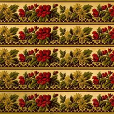 Leafy Floral Clusters with Red/Gold Flowers and Gilt Accents on Light Olive Ground # Rolls: of border total) Condition: Very Good, some tears on selvage Antique Wallpaper, Original Wallpaper, Borders For Paper, Floral Border, Gold Flowers, Red Gold, Band, Antiques, Rolls