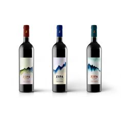Zipa Grande means 'Big Boss'. This collection of three wine labels is for a small Colombian winery. The water color backgrounds depict the various landscapes, some mountainous, some temperate, of this South American country.