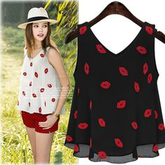4d2b8d25b70 blouse back Picture - More Detailed Picture about Europe women s V neck  embroidered chiffon red lips wild sleeveless vest chiffon shirt blouses  2015 summer ...