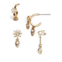 Women's Luv Aj Mismatch Starburst Earrings ($85) ❤ liked on Polyvore featuring jewelry, earrings, gold, hoop earrings, gold earrings jewelry, yellow gold jewelry, earring jewelry and gold jewelry