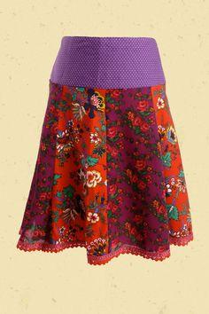 Gypsy rok met bloemenbanen in paars en rood