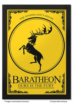 House Baratheon - Game of Thrones - Ficção/Fantasia - Séries | Posters Minimalistas