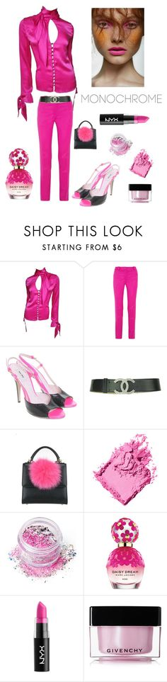 """""""Head to Toe in PINK"""" by kotnourka ❤ liked on Polyvore featuring Versace, Thierry Mugler, Miu Miu, Les Petits Joueurs, Bobbi Brown Cosmetics, In Your Dreams, Marc Jacobs, NYX and Givenchy"""