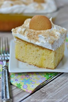 Lemon Poke Cake: delicious, easy poke cake recipe with Lemon JELL-O and homemade lemon curd!
