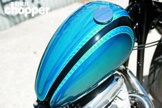"Custom BSA [?] chopper ""Peanut"" gas tank   Airbrush & pinstriping   via StreetChopperWeb.com"