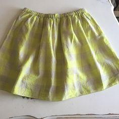 Jcrew gingham skirt Jcrew neon green/light gray plaid skirt, elastic waist, never worn! J. Crew Skirts Mini