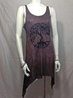 Fair Trade Elemental Ombre Dyed Tree of Life Spiritual Tank Top Hippie BoHo Yoga