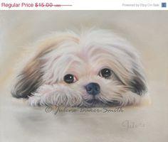 HOLIDAY SALE Shih Tzu Shitzu Dog Art Shih Tzu by ArtByJulene