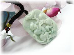 Jade Monkey 灵猴献寿 Necklace by the68artshop on Etsy, $68.00