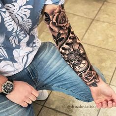 full sleeve tattoos with meaning Forarm Tattoos, Forearm Sleeve Tattoos, Best Sleeve Tattoos, Forearm Tattoo Men, Tattoo Sleeve Designs, Body Art Tattoos, Full Arm Tattoos, Clock Tattoo Sleeve, Clock Tattoos
