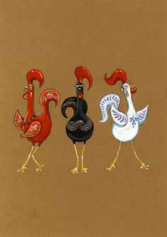 Roosters of Barcelos by Alissa Berkhan, via Behance Chicken Logo, Hen Chicken, Chicken Art, Rooster Art, Rooster Decor, Chicken Painting, Chickens And Roosters, Galo, Bird Pictures