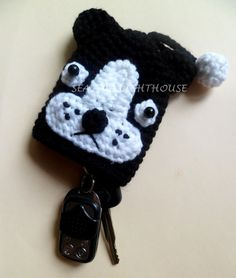 Black And White Bulldog Key Covers PDF Crochet Pattern. $3.00, via Etsy.