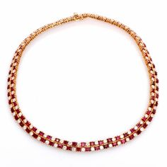 Vintage French 21.00ct Diamond Ruby 18K Gold Necklace