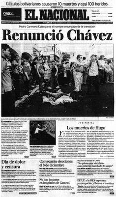 Renunció Chávez. Publicado el 12 de abril de 2002.