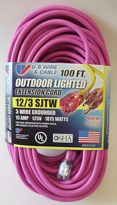 100' 12 Gauge Dark Pink Extension Cord with Lighted End on eBay!