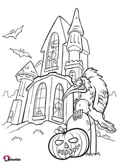 Happy Halloween everyone. Let's color in this spooky haunted house and pumpkin. Print this image and then color it in a nice color. This image is very easy to color. Collection of cartoon coloring pages for teenage printable that you can download and print. #ColoringPage, #Halloween, #Pumpkin #ColoringPage, #Halloween, #Pumpkin