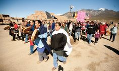 Walk For Human Rights    Taosenos joined the long walkers from the Leonard Peltier Walk for Human Rights in a walk from Taos Plaza to Taos Pueblo and are welcohttp://pinterest.com/taosnews/vecinos/#med by drummers inside Taos Pueblo.