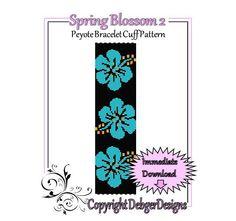 Spring Blossom 2  Beaded Peyote Bracelet Cuff por FUNPATTERNDESIGNS