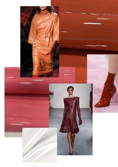 The leather trends for autumn/winter it will be exotic leather prints, glossy leathers and colourful leather. 2020 Fashion Trends, Fashion 2020, Iranian Women Fashion, Womens Fashion, Autumn Winter Fashion, Fall Winter, Metallic Jacket, 80s Outfit, Future Trends