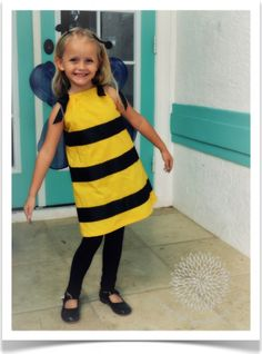 Homemade bee costume for a kid! (made out of a pillowcase!)
