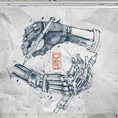 Mauritz Escher would be proud:)))) Cyberpunk Character, Cyberpunk Art, Robot Sketch, Drawing Sketches, Drawings, Robot Concept Art, Hand Art, Graphic Design Inspiration, Product Design