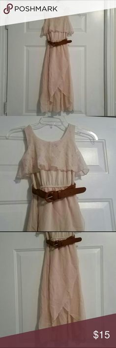New Girls Dress sz.10/12 yrs Brand New girls high-low dress Cream color,  very nice. Lace detail cones with belt, very stretchy at waist. Ret $36 PRICE IS FIRM- FINAL SALE PRICE!! chillipop Dresses Casual