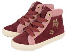 Spandau - Sneakers de niña de botín con corte en piel, forro y plantilla en tejido. Con cómodas cordoneras y detalles de estrellas en los laterales. Disponibles en varios colores: burdeos, marrón, azul marino...