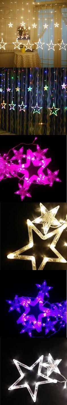 Star LED Light String Living Room Bedroom Valentine's Day Nightclub KTV Party Xmas Decoration Lamps 2.5m 138leds 12 Stars 220V
