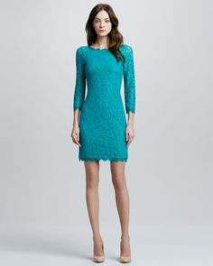Zarita Lace Dress, Parakeet by Diane von Furstenberg at Neiman Marcus.