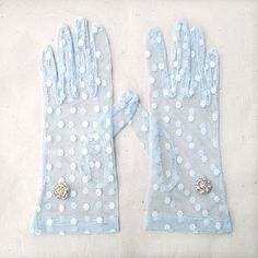 ♔ Blue dotted lace gloves by curtainroad