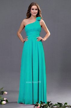 One Shoulder Evening Formal Party Ball Gown Prom Bridesmaid Dress 6-16 Turquoise
